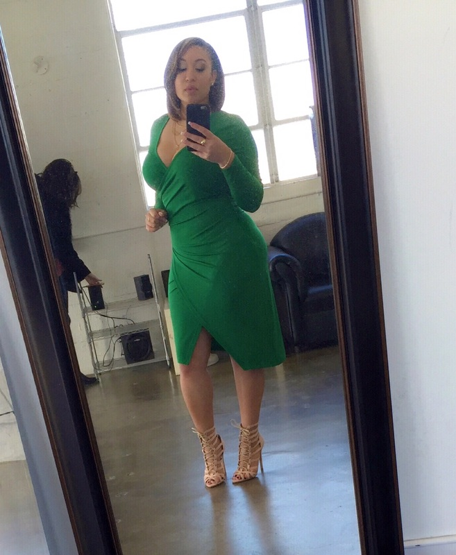 Melanie Amaro in green dress